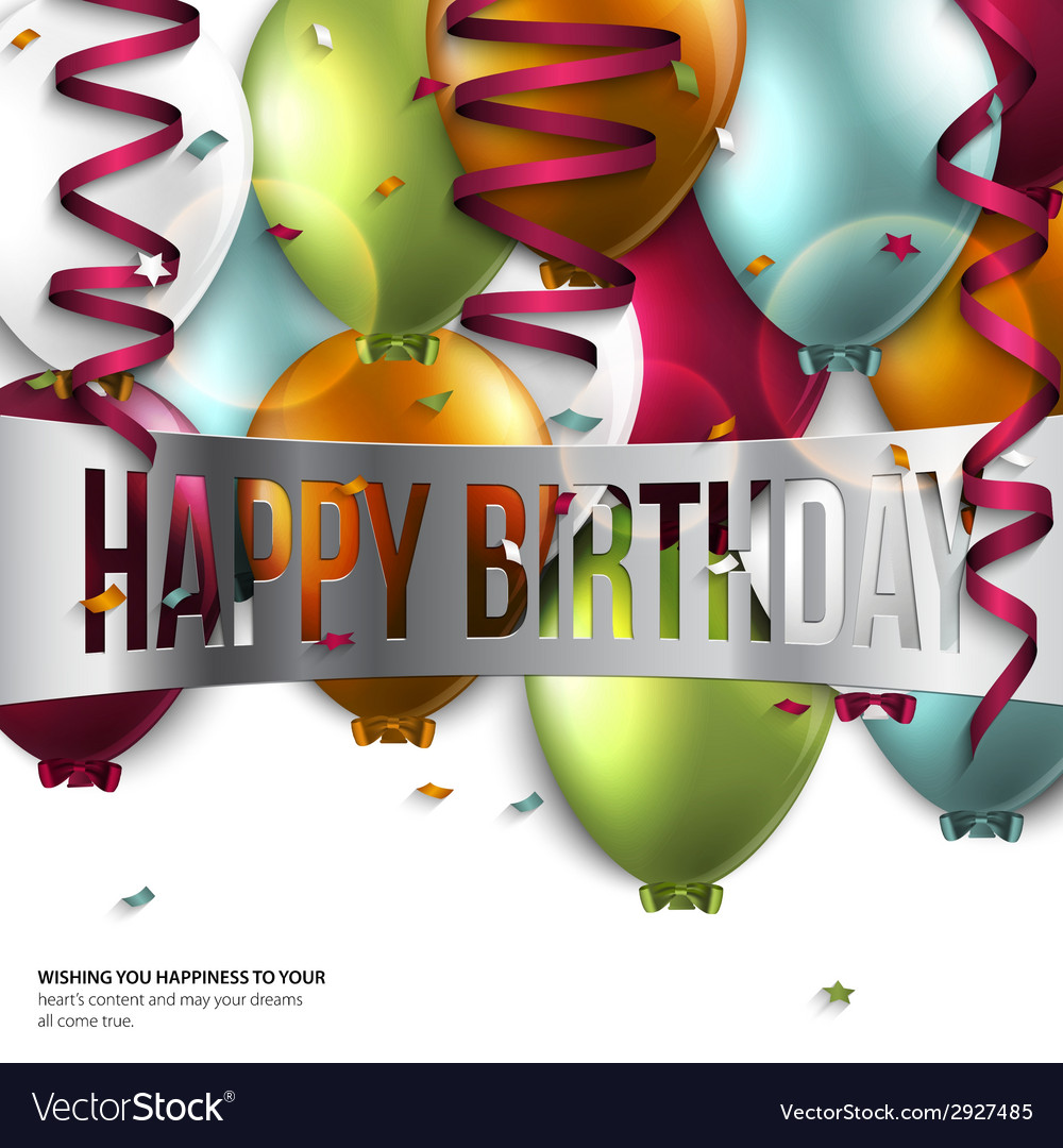 Birthday card with balloons and birthday text