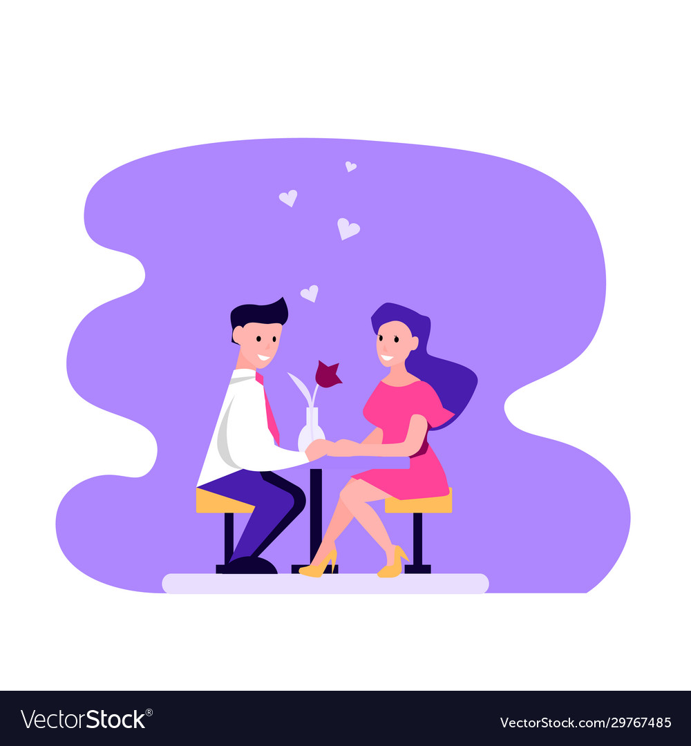Couple man and woman in a restaurant
