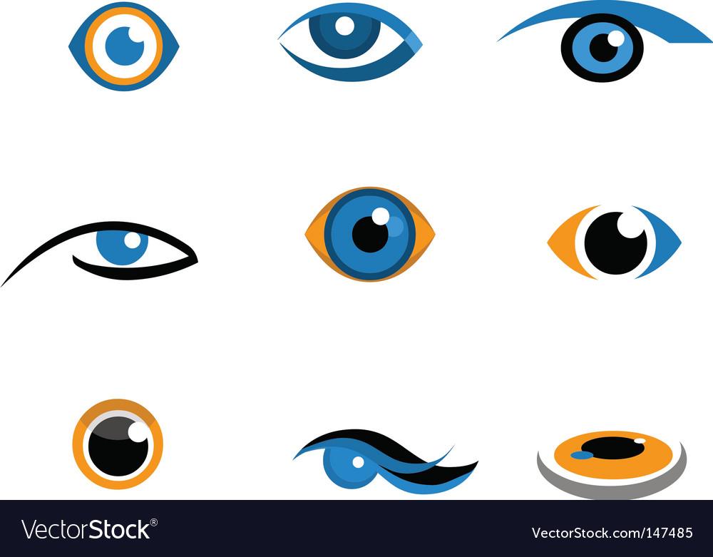 Eye icons and logos