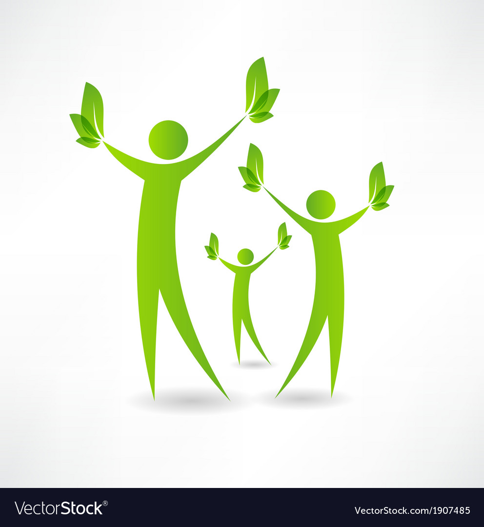 Group of people holding green leaves in the hands vector image