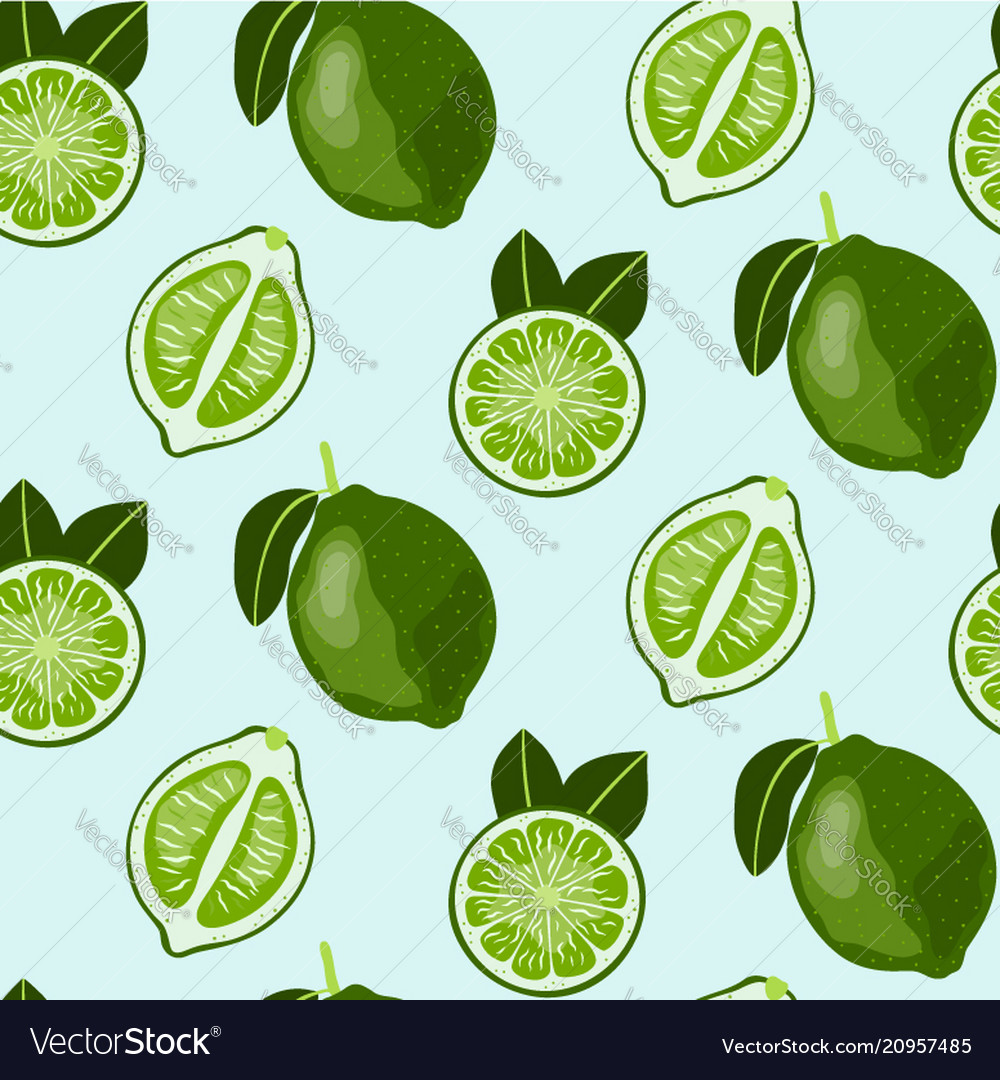 Hand drawn seamless pattern with lime fruit