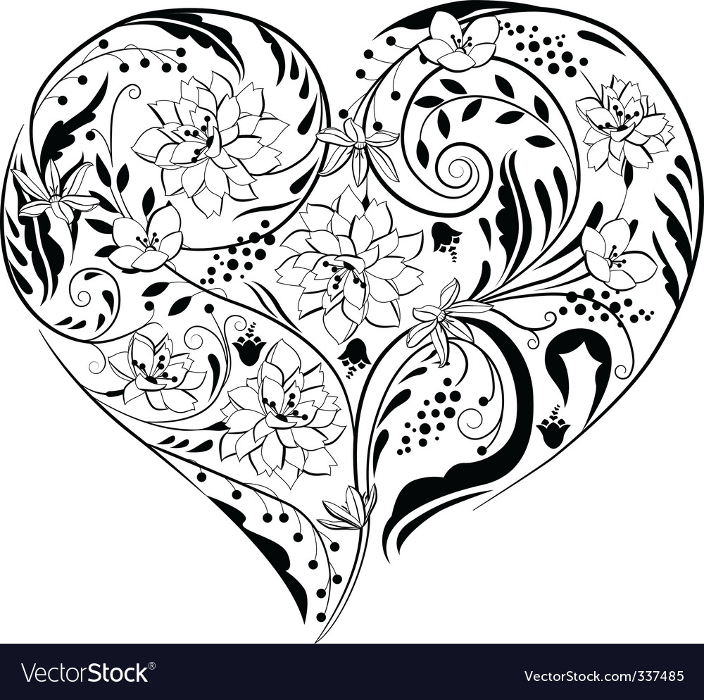 Heart Shape Made Of Flowers Vector Image