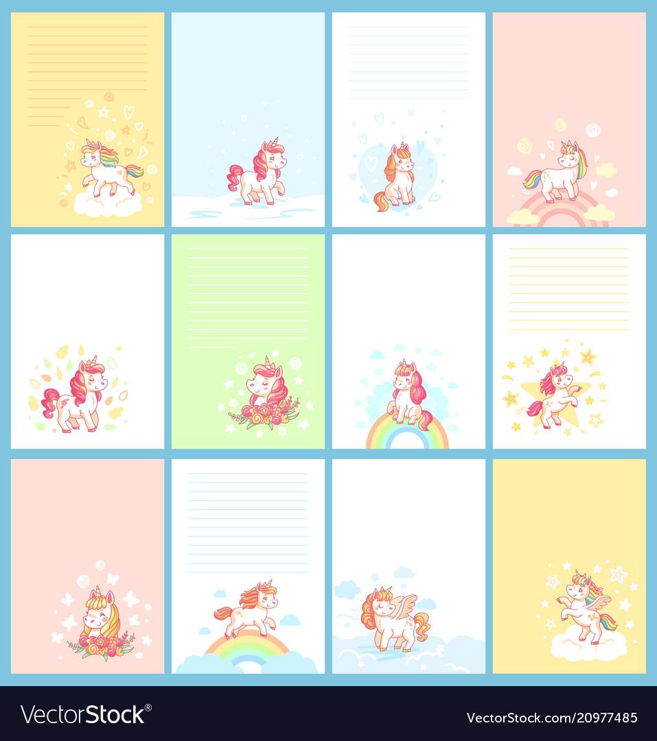 Magic cute unicorn cartoon template for birthday