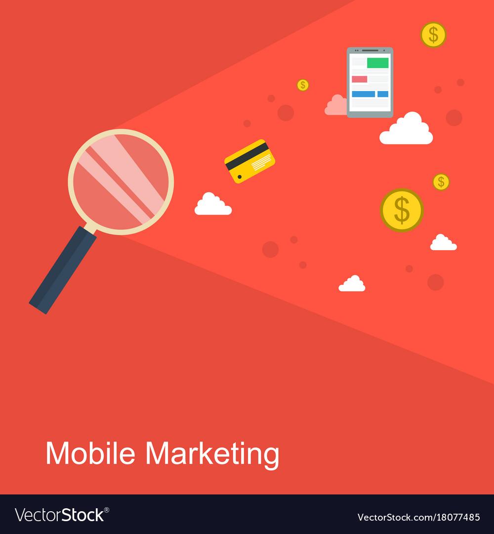 Mobile marketing style flat design vector image