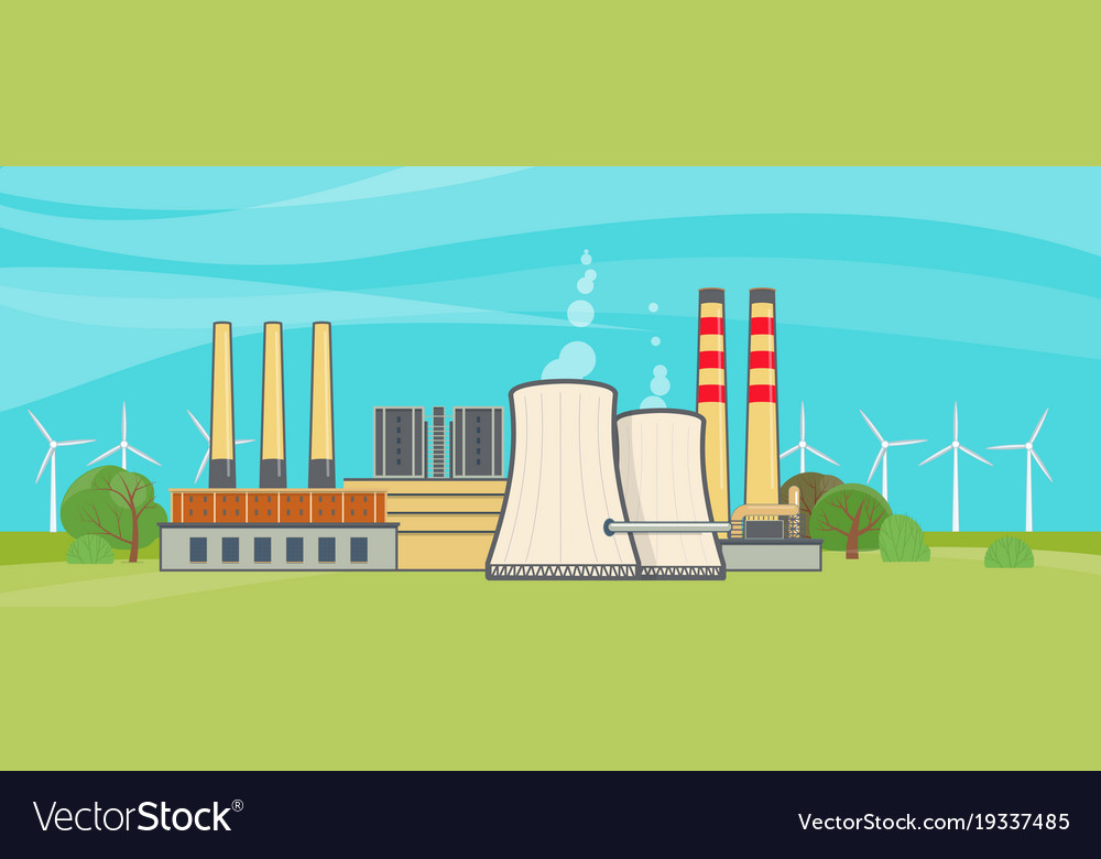 Nuclear power plant in flat style