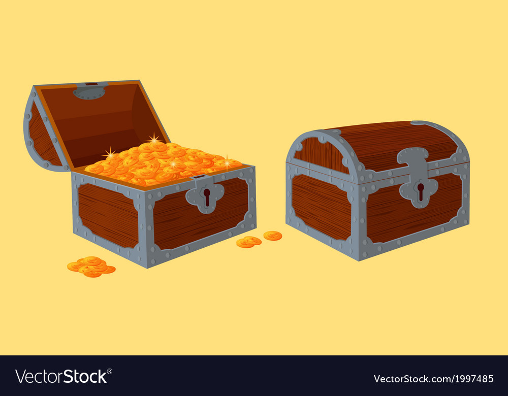 Opened and closed chests with treasure