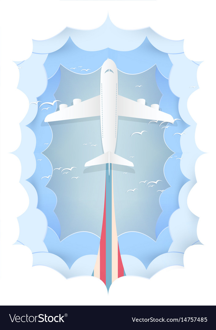 Paper art plane logistic travel concept