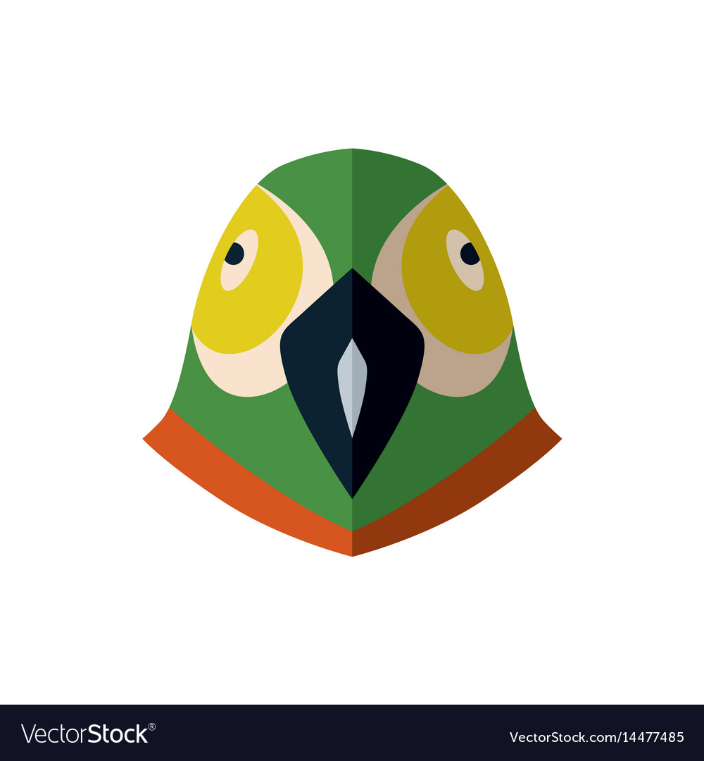 Parrot head icon in flat design