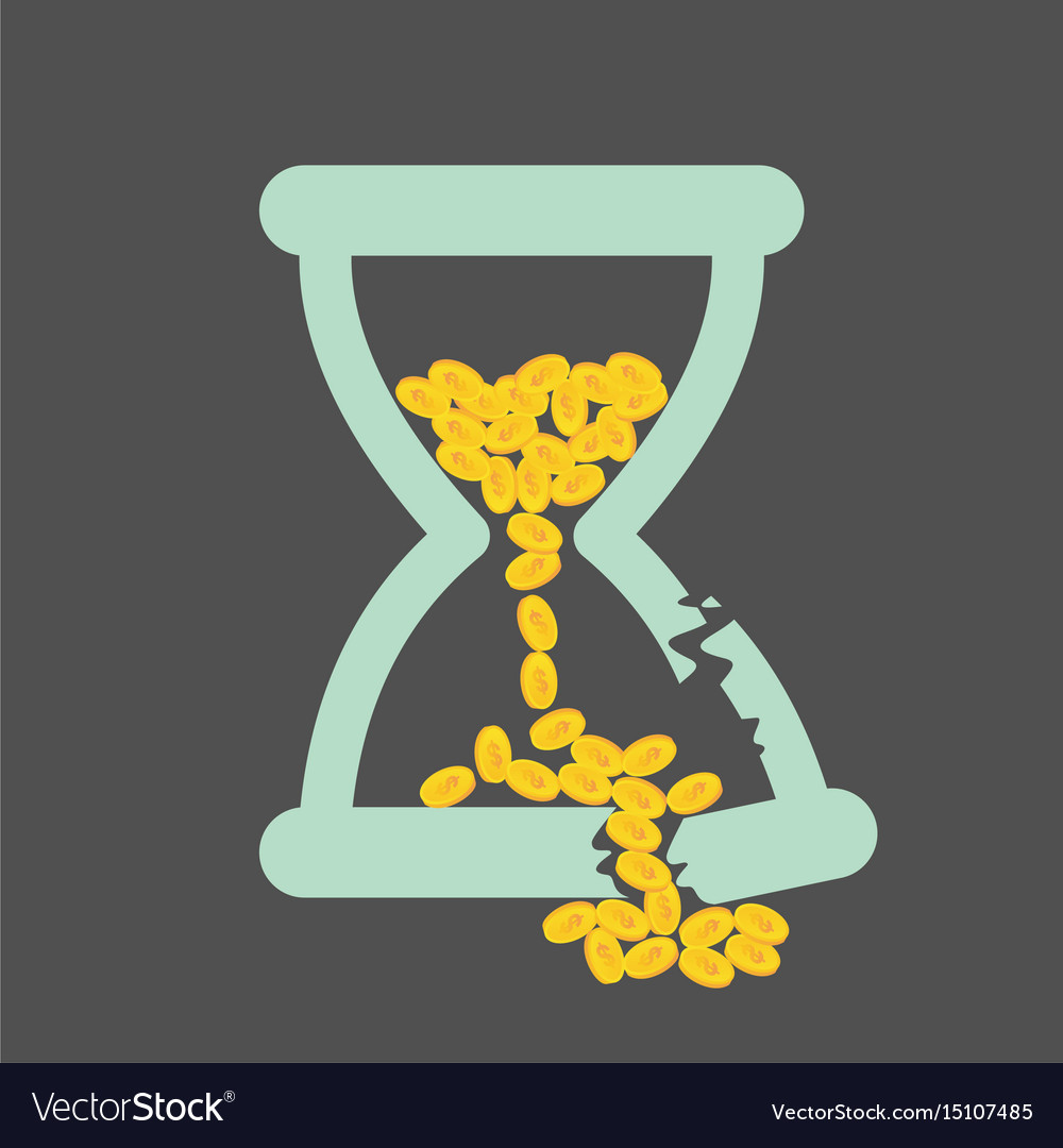 Time is money concept with golden coins in a