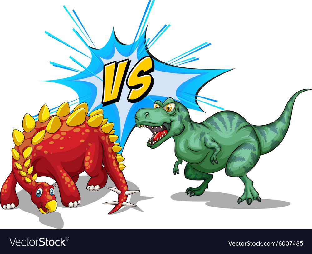 two dinosaurs fighting on white royalty free vector image