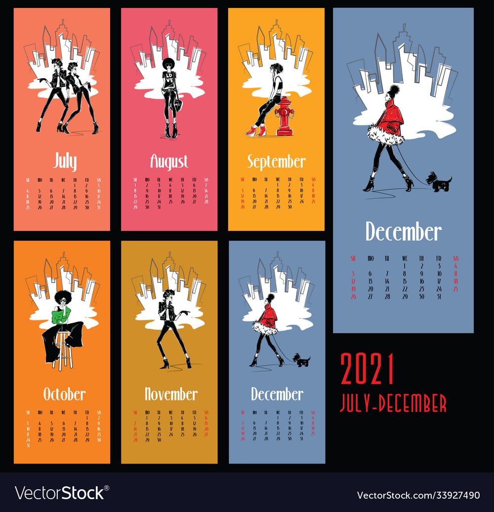 Fashion Calendar 2021 2021 new year calendar with fashion Royalty Free Vector