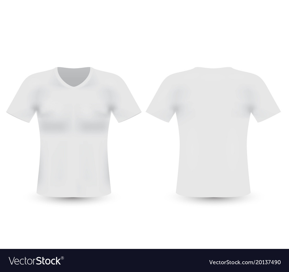 Blank T Shirt Template Front And Back Side Vector Image