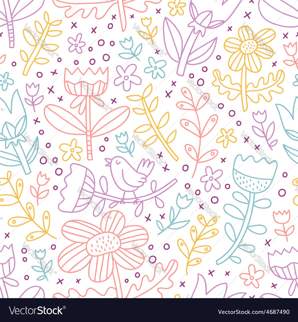 Colorful outline floral seamless pattern