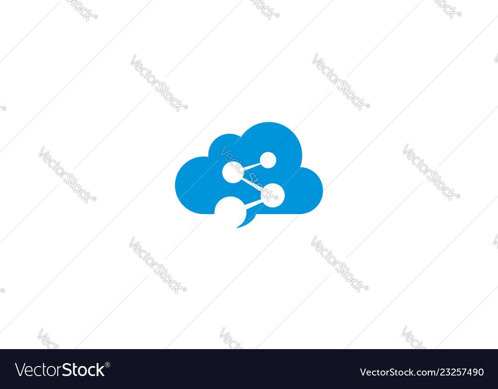 Digital cloud communication logo icon