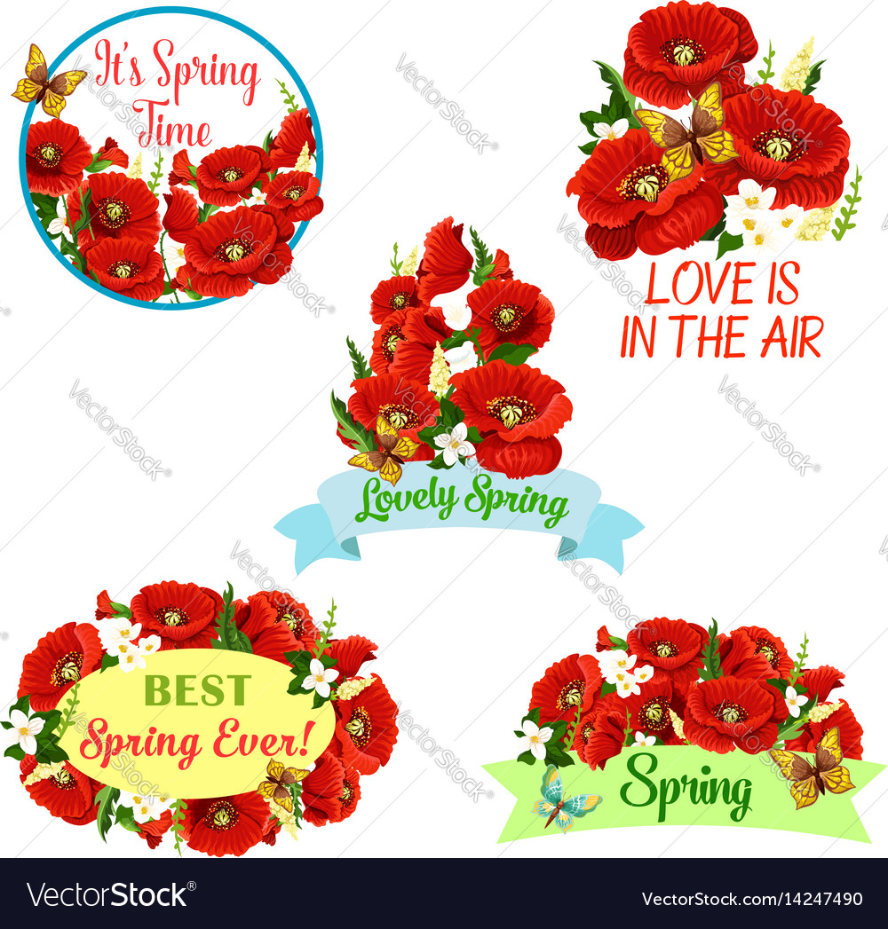 Flowers wreath set for spring time quotes vector image mightylinksfo
