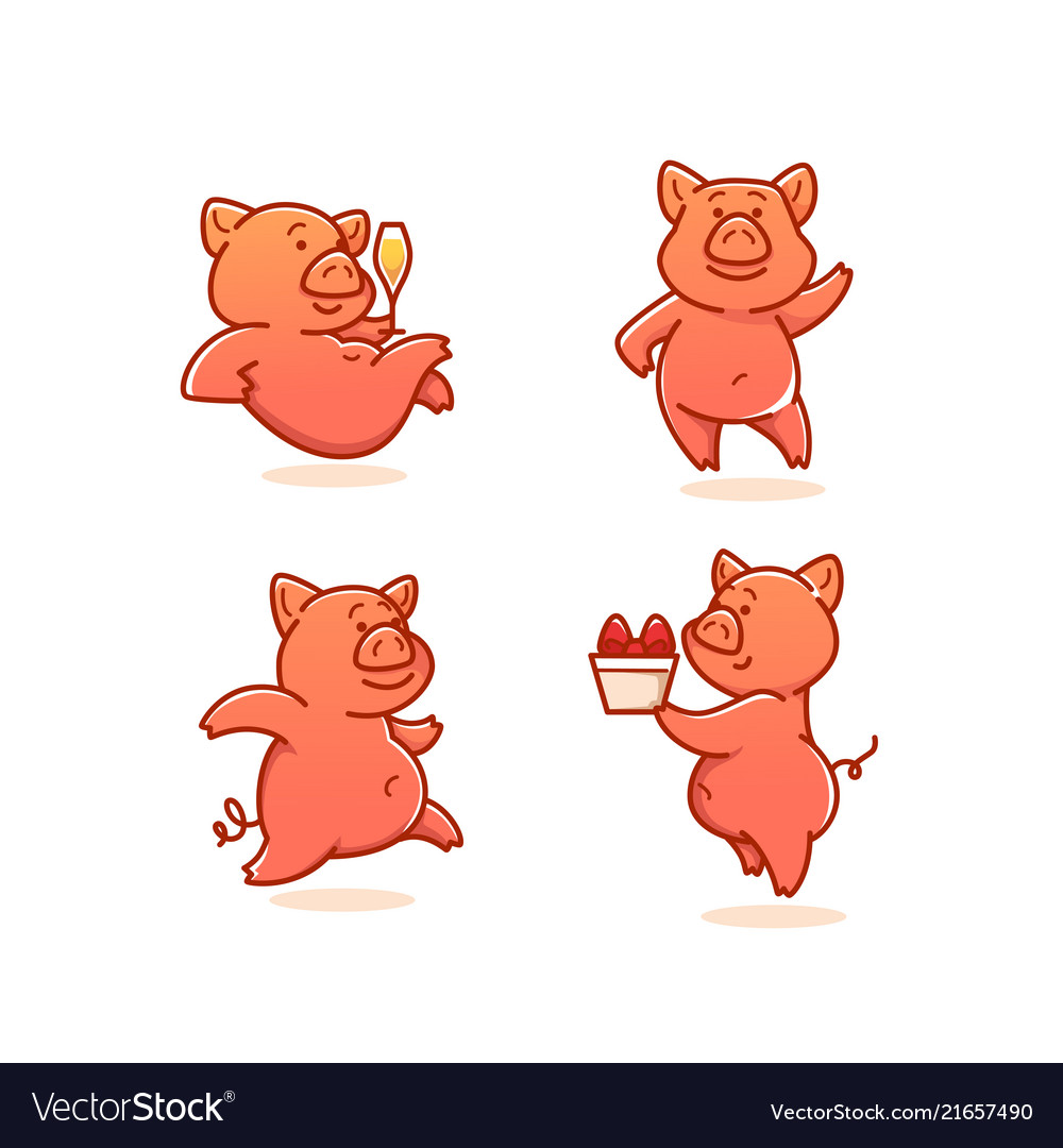 Funny pig collection doodle pigs vector