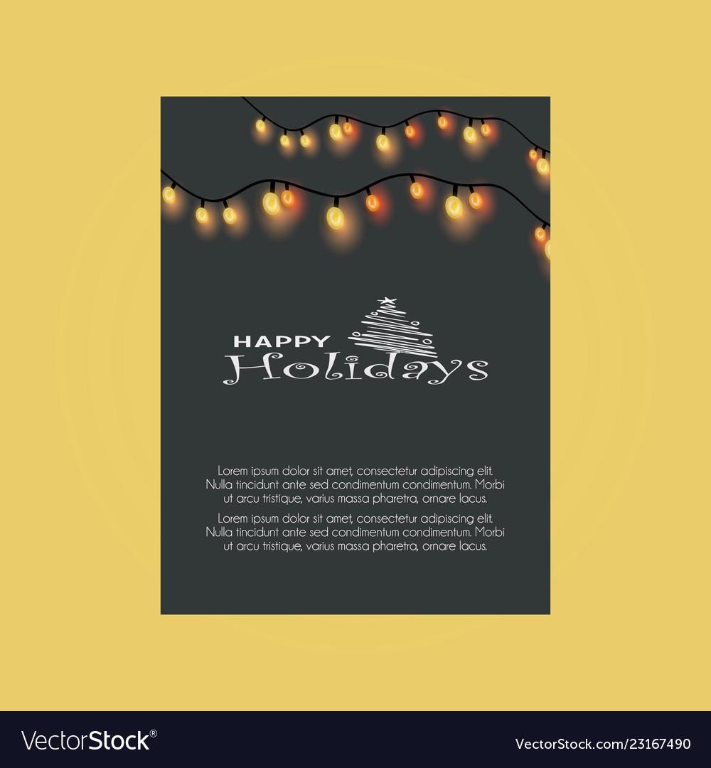 Happy holiday tree merry christmas lights