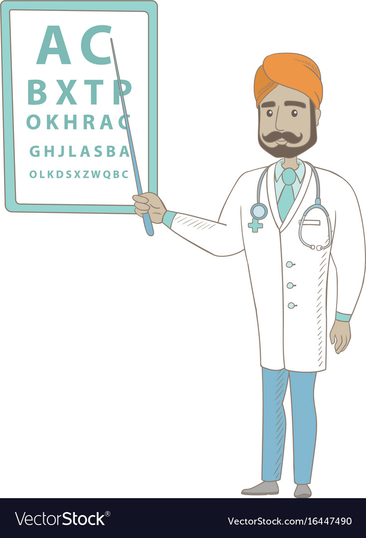 Indian ophthalmologist pointing at eye chart vector image