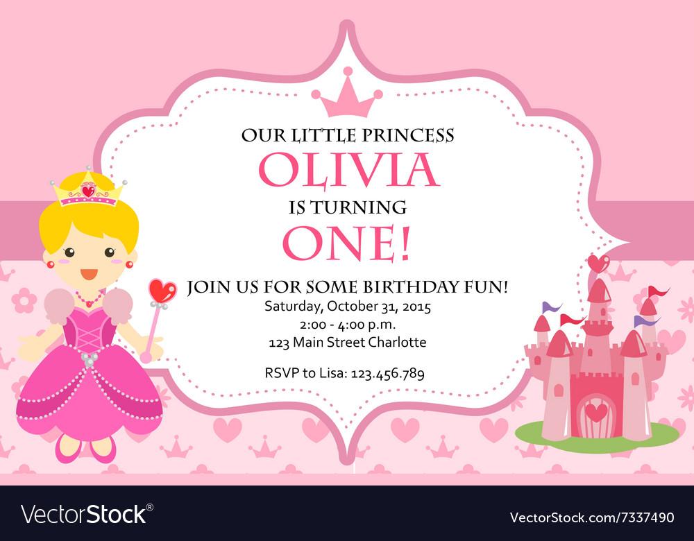 Princess Birthday Party Invitation Royalty Free Vector Image
