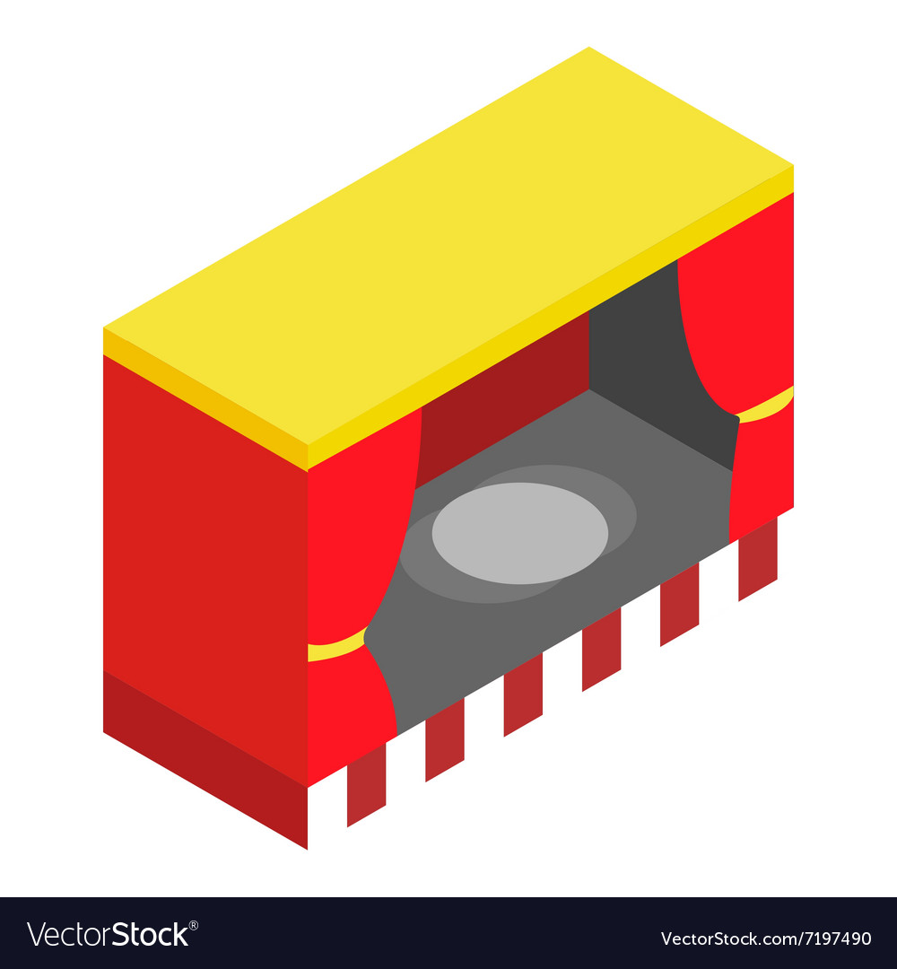 Red stage isometric 3d icon