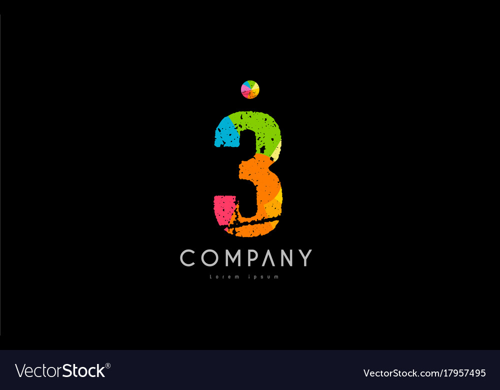 3 number grunge color rainbow numeral digit logo vector image