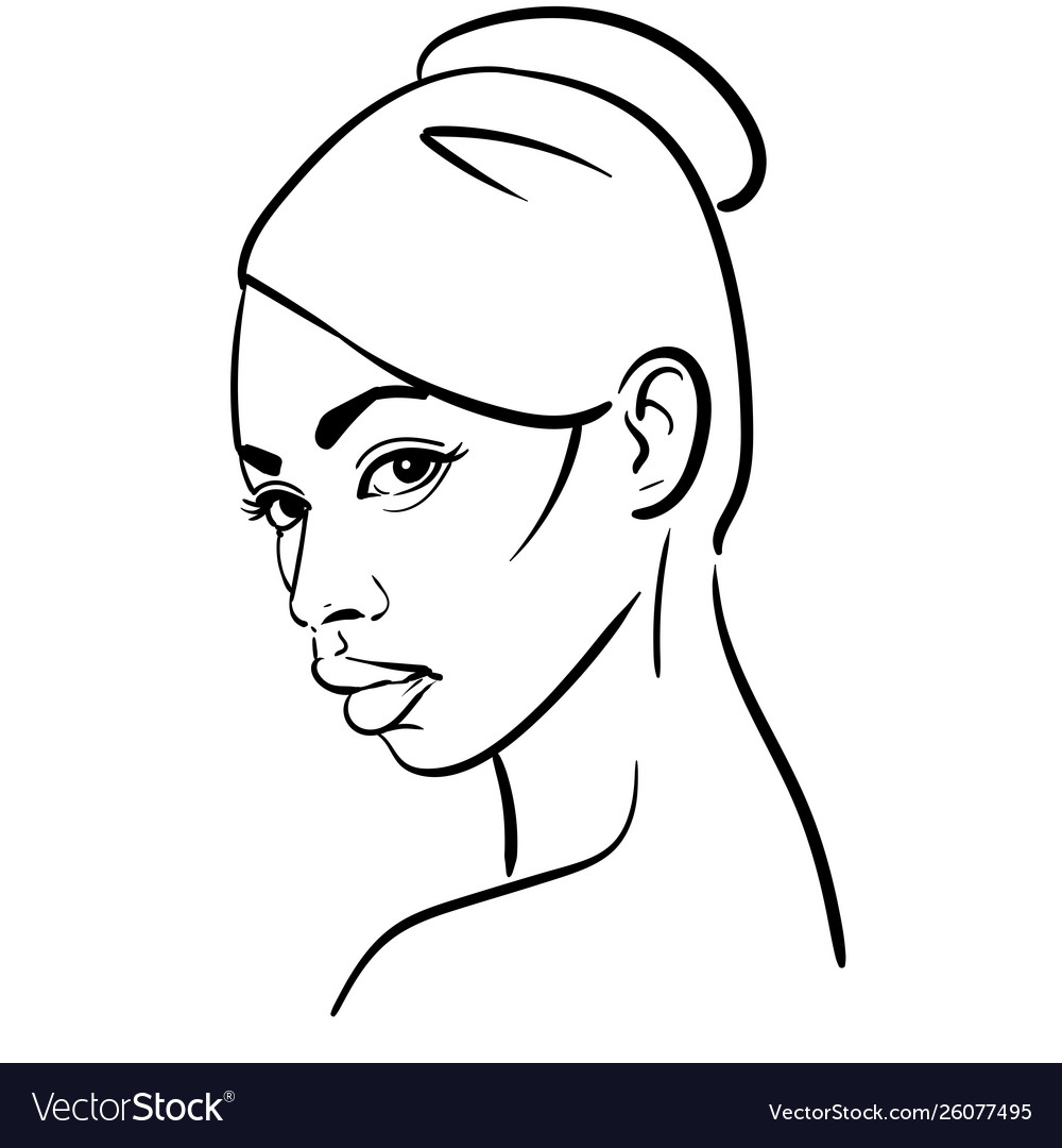 African woman face portrait cartoon black and