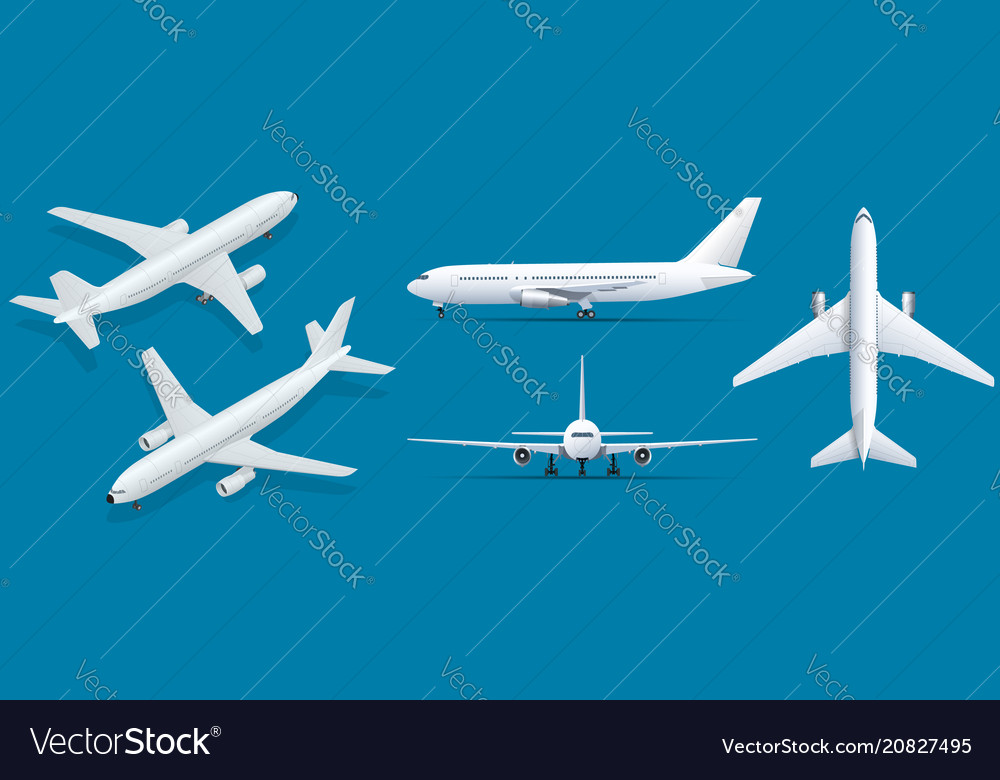 Airplanes on blue background industrial blueprint