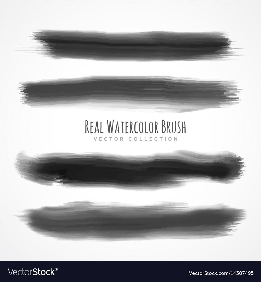 Black real watercolor brushes set vector image