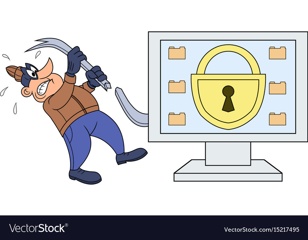 Computer thief has broken his crowbar vector image