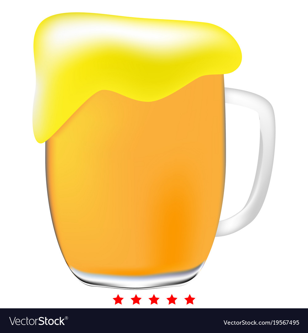Cup beer icon color fill style vector image