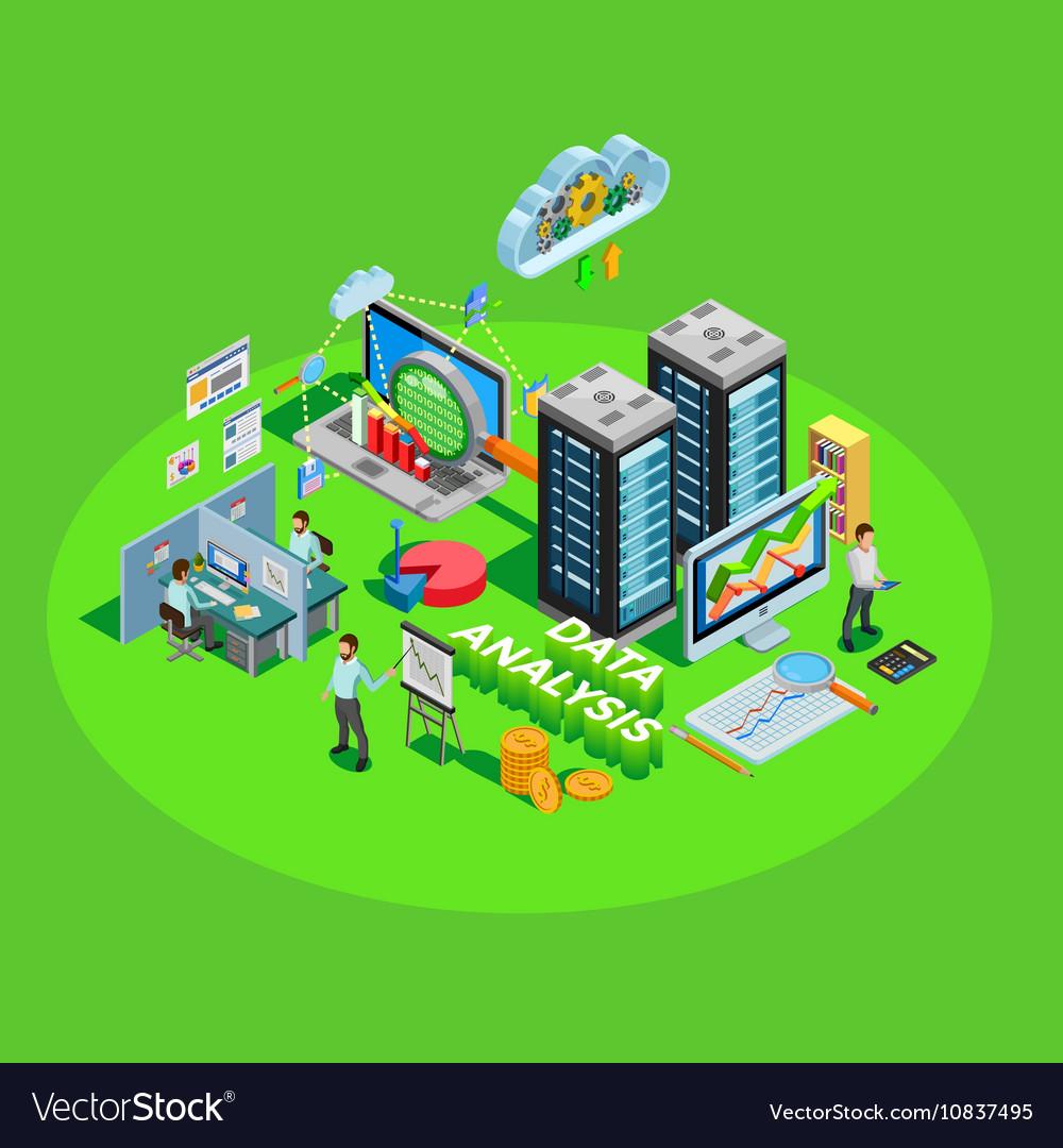 Data Analysis Process Element Isometric Poster