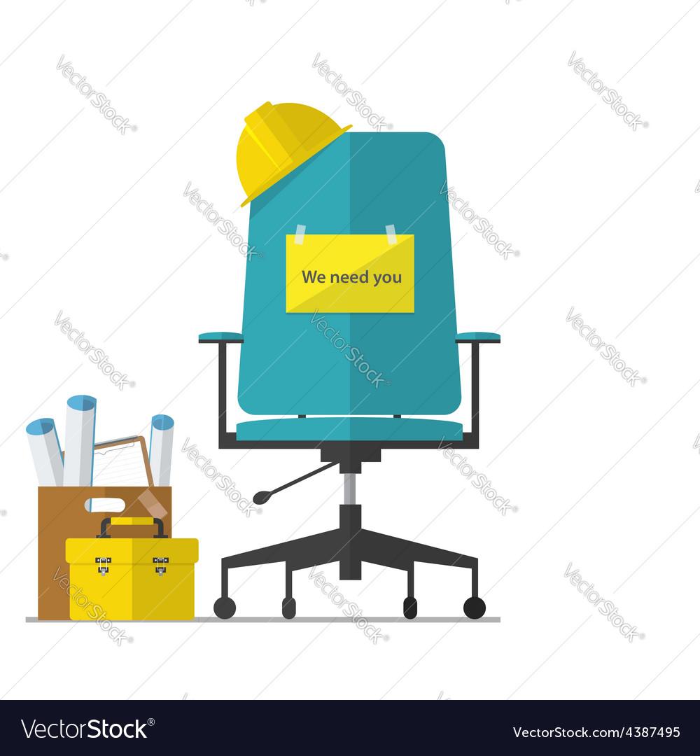 Flat design of job hiring for engineer