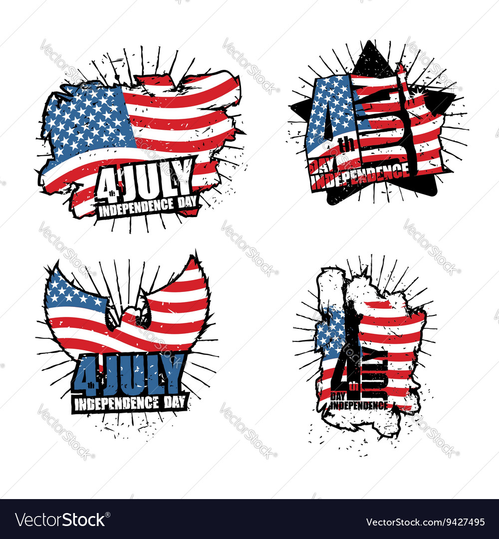 Independence Day set sign in grunge style Star and