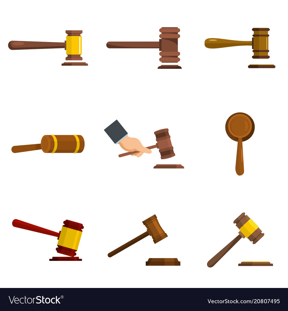 Judge hammer icons set isolated vector image