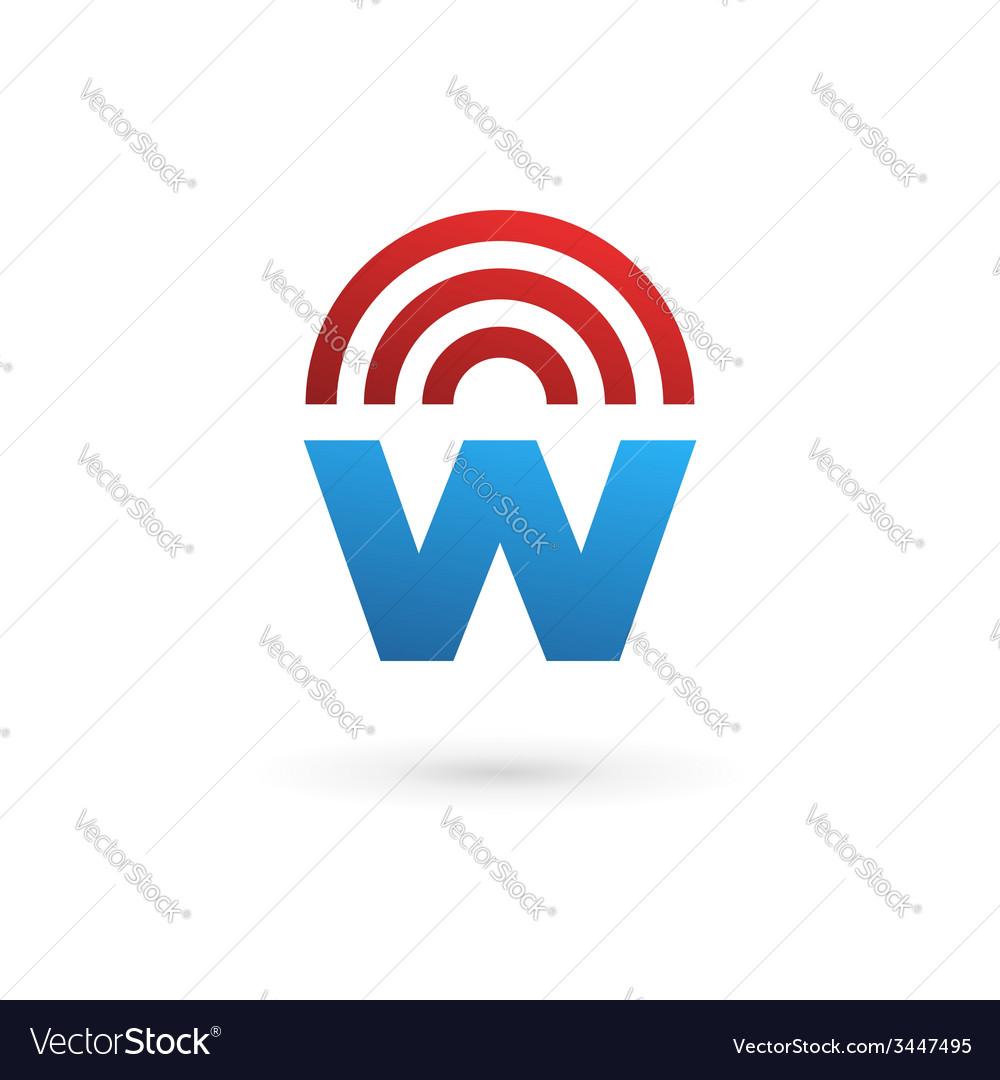 Letter W wireless logo icon design template