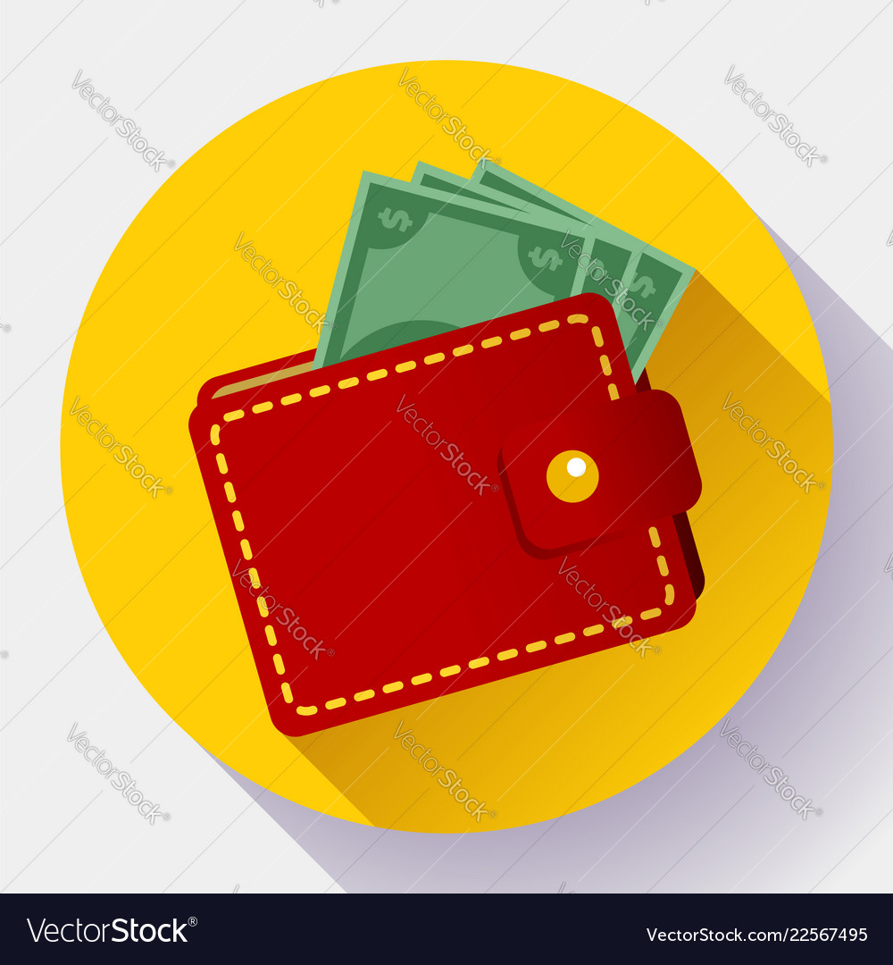 Red wallet icon flat style wallet with