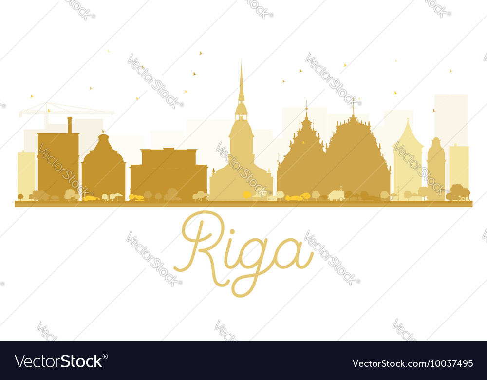 Riga City skyline golden silhouette vector image