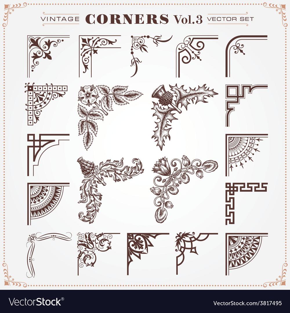 Set of Vintage Corners 3 vector image