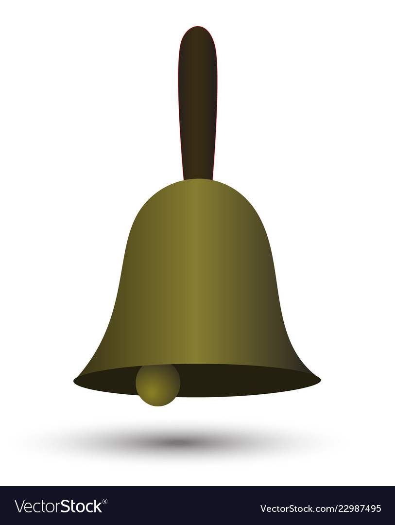 sinple gradien golden hand bell with shadow vector image