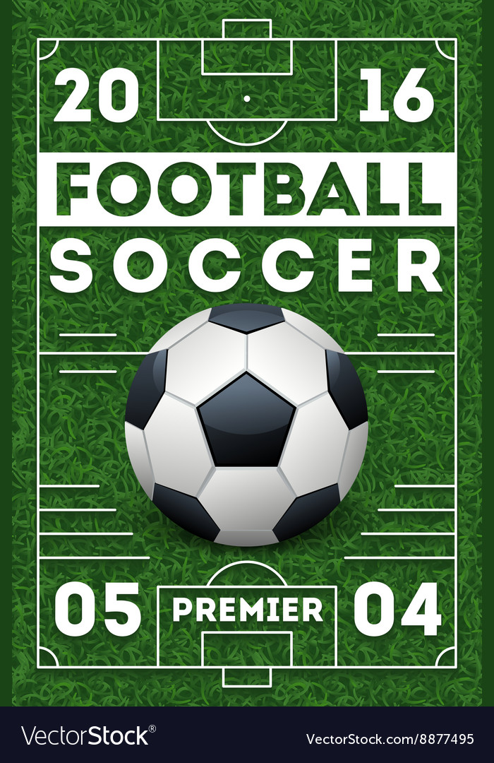 Soccer football poster with field template