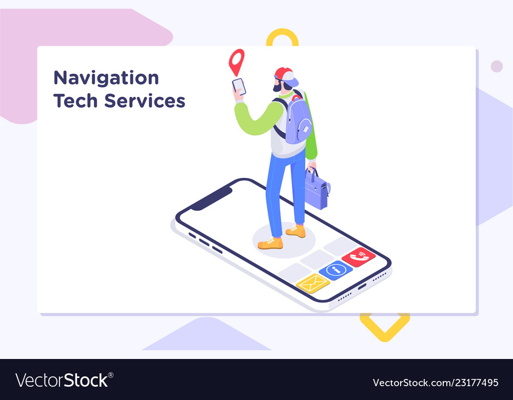Tourist using map in phone app to navigate and on open map, print map, scroll map, contact us map, zoom map, click map, measure map,