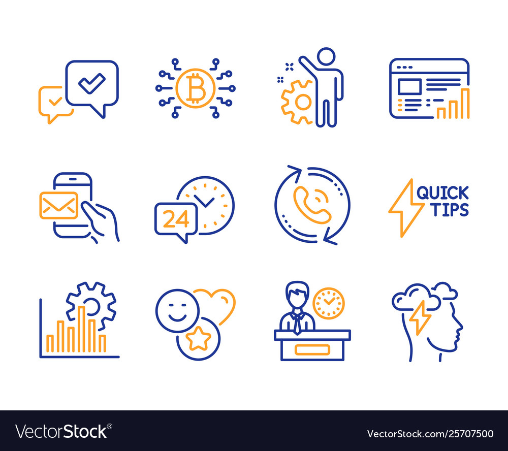 Approve quickstart guide and web report icons set