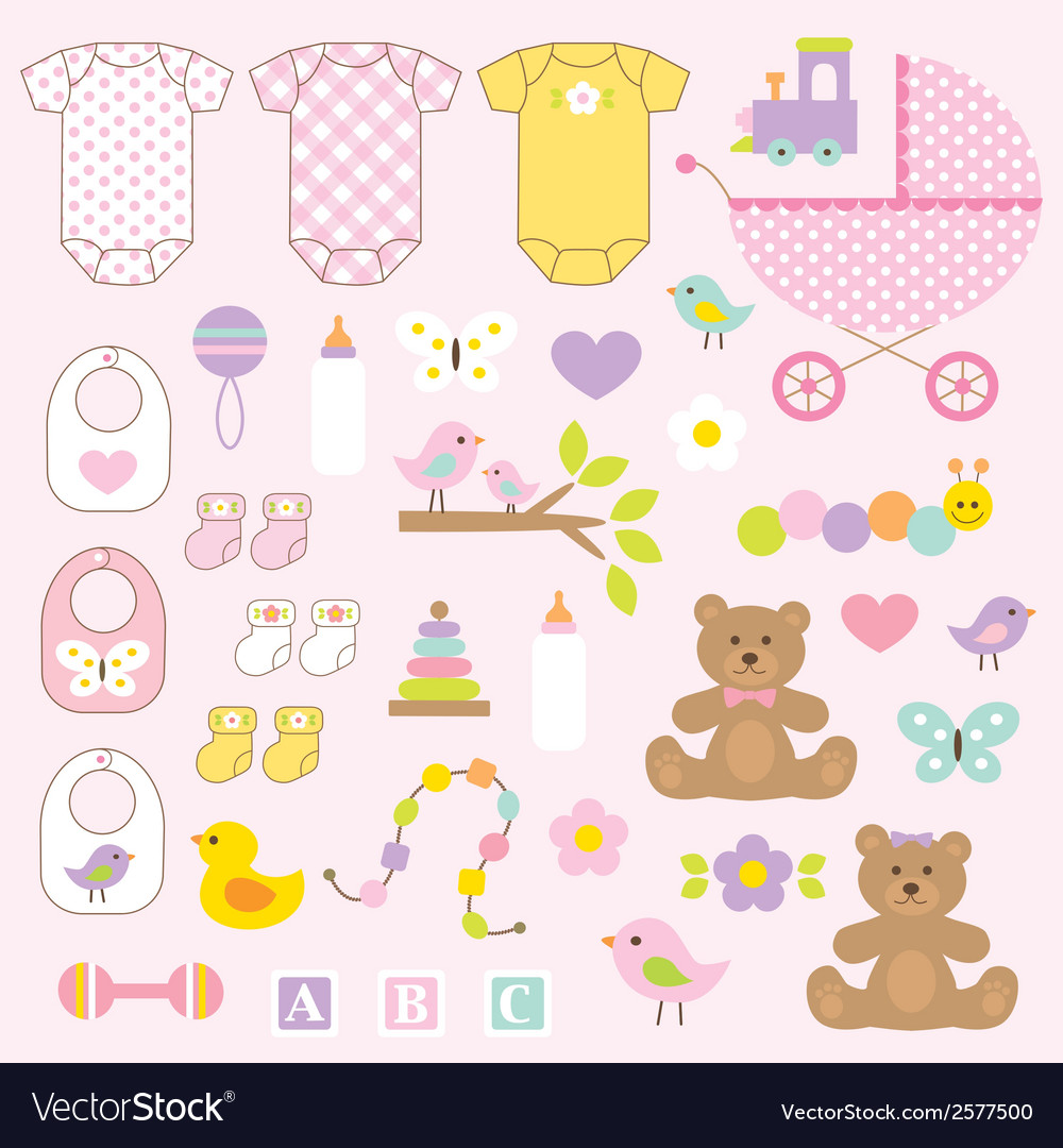 Baby Girl Clipart Royalty Free Vector Image Vectorstock