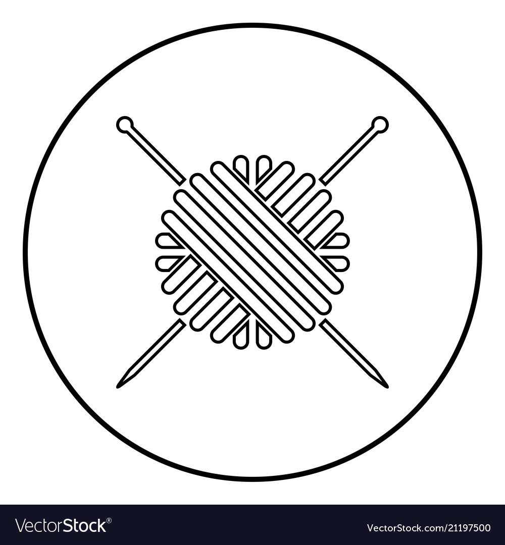 Ball of wool yarn and knitting needles icon black