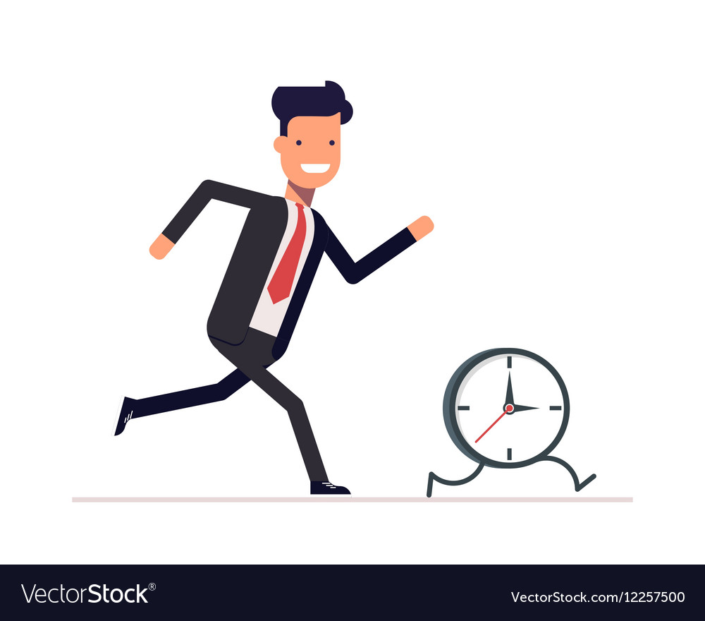 Businessman or manager runs the clock Man does