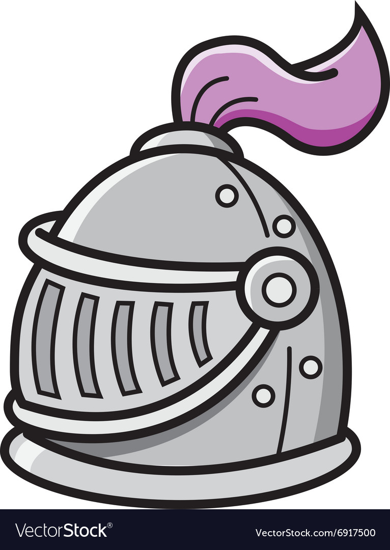 Cartoon knight helmet vector image