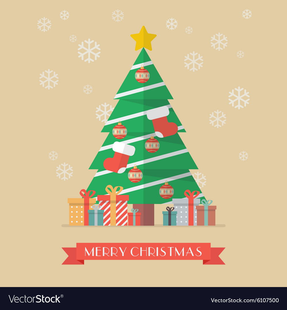 Christmas Tree And Presents Royalty Free Vector Image
