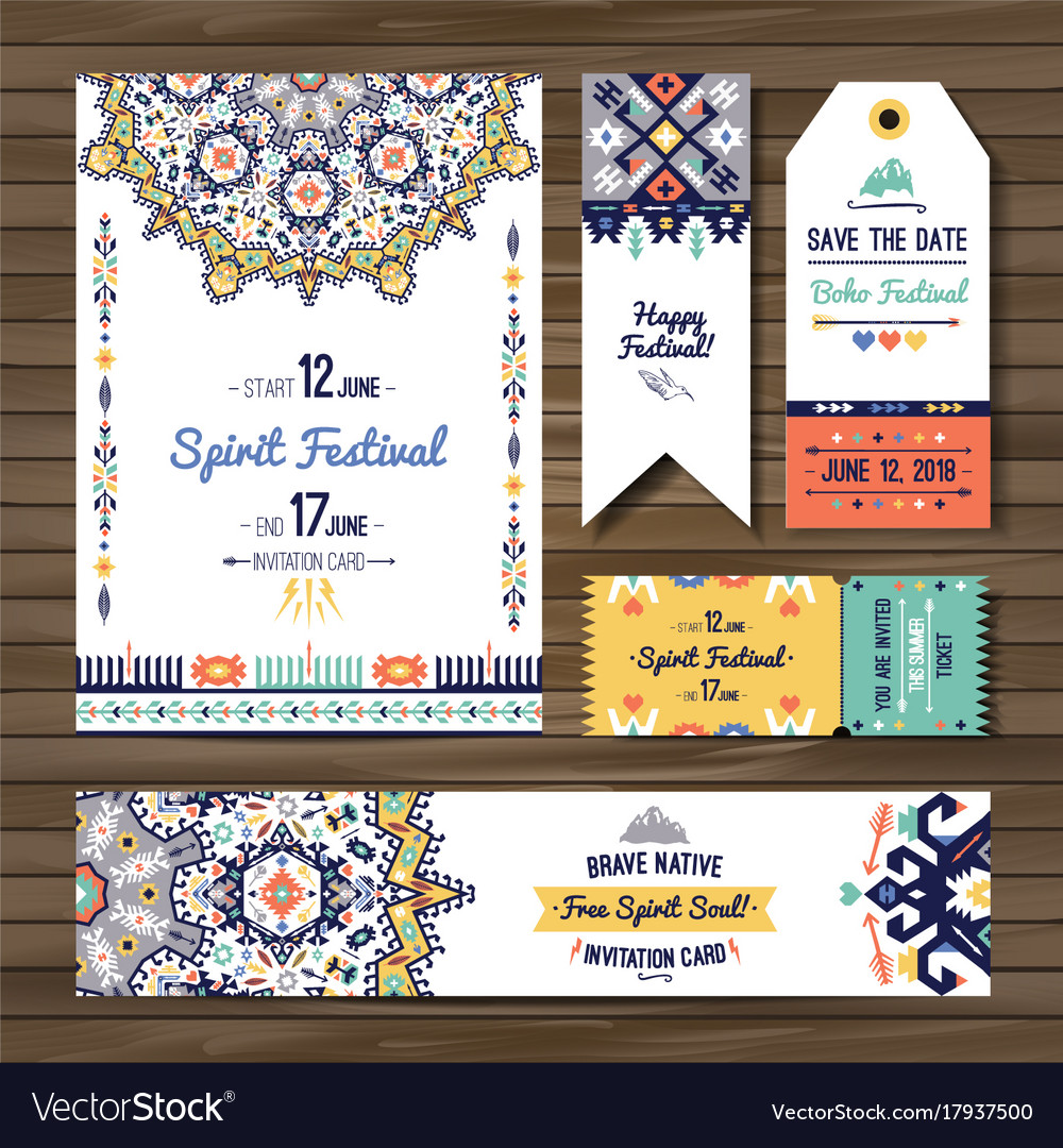 Collection of banners flyers or invitations with