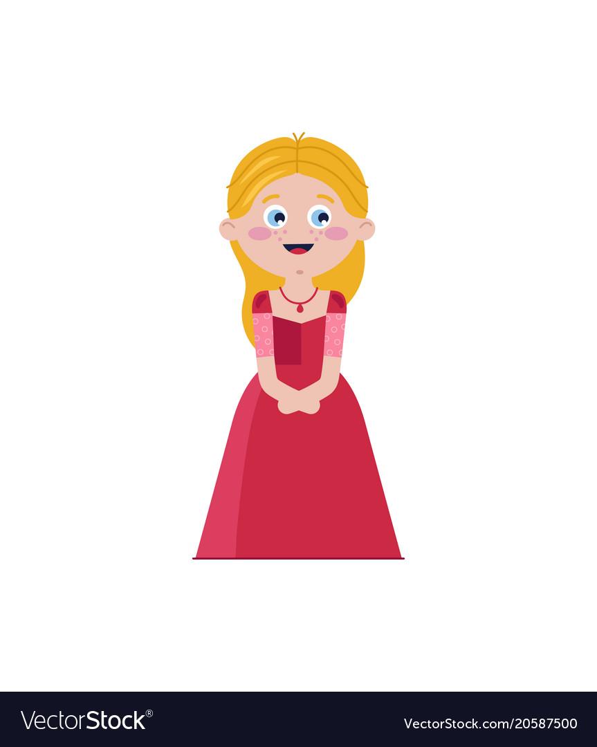 Cute cinderella in red dress vector image