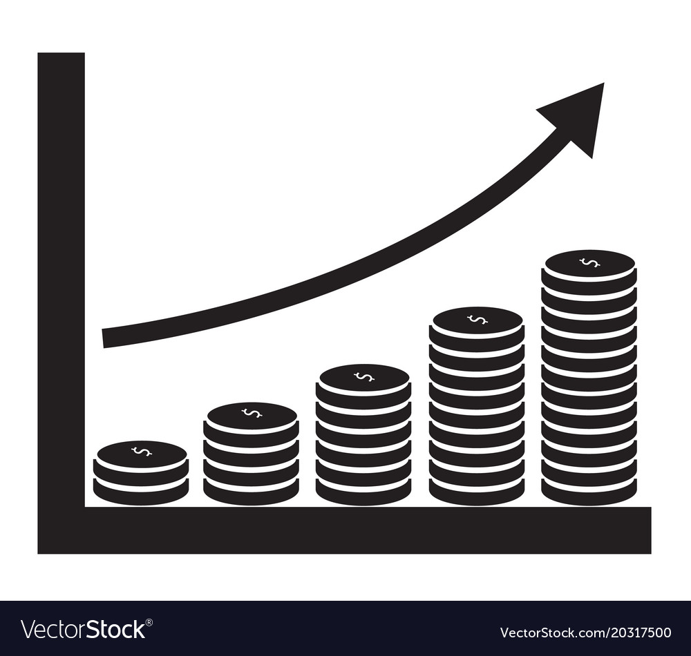 Dollar growth chart on white background dollar